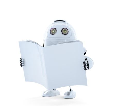 Android Robot with manual. Isolated on white Stock Photo