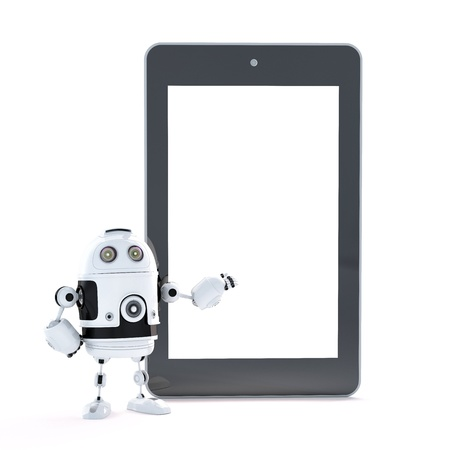 Robot with touch screen tablet pc with blanc screen Stock Photo - 28218968