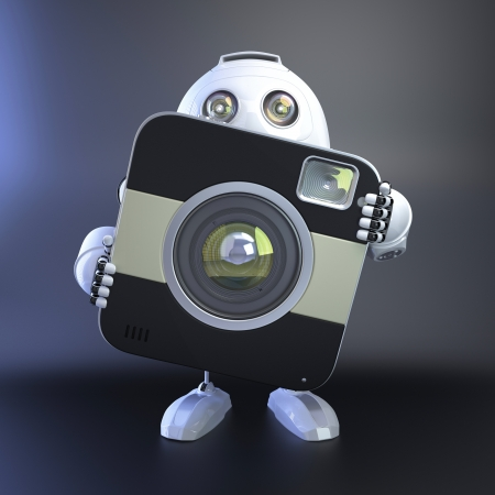 android robot: Android Robot with compact digital camera. 3D Illustration Stock Photo