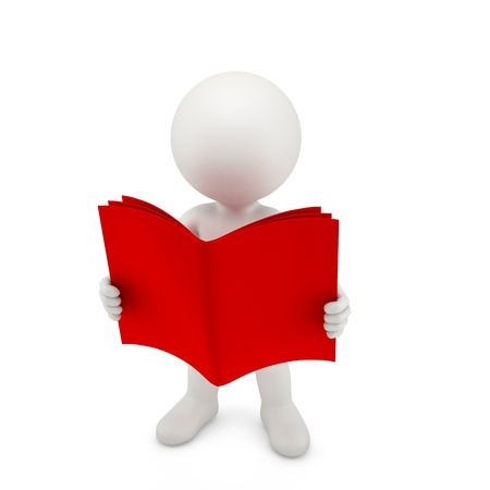 Person with a opened red book. Isolated on white Stock Photo - 20412021