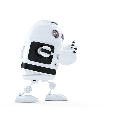 Android robot pushing an invisible object. Isolated on white background photo