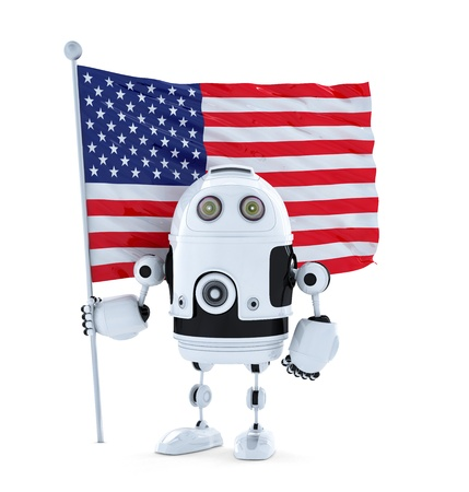 Robot with standing American flag. Isolated on white photo