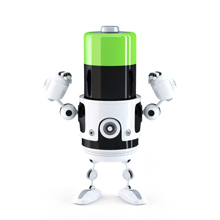 charged: Powerfull charged battery. Technology concept Stock Photo