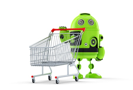 robot and cart. E-shop concept. Isolated over white background photo