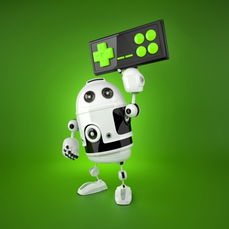 gaming: Robot with a wireless gamepad. Isolated on white