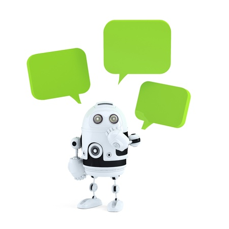 robot with chat bubbles. Isolated on white