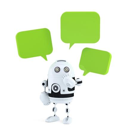 Roboter mit Chat-Blasen. Isoliert auf weißem