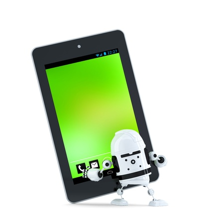 Robot with tablet pc. Isolated on white background photo
