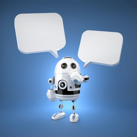 Cute Robot with speech bubbles. Rendered over blue background photo
