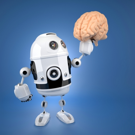 robot holding brain. Artificial intelligence concept photo