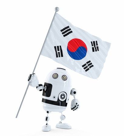 Robot standing with flag of South Korea. Isolated over white photo