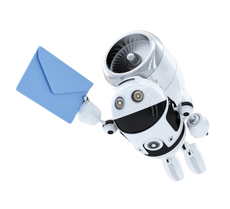send mail: robot flying with envelppe. E-mail delivery concept. Isolated