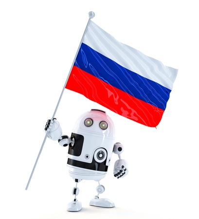 Robot standing with flag of Russia. Isolated over white photo
