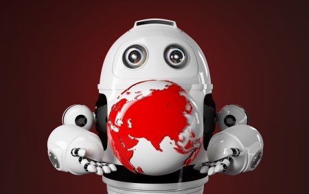 humanoid: Robot holds red earth globe. Technology concept