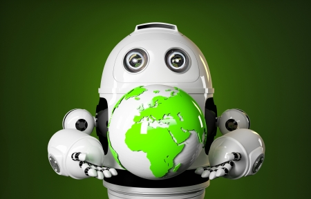 Robot holds earth globe. Technology concept photo