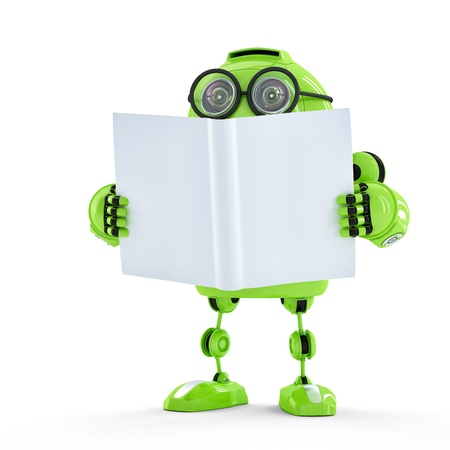 Robot with book. Technology concept photo