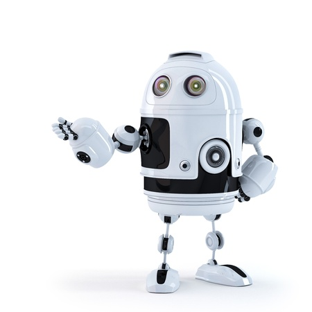 Roboter präsentiert ein unsichtbares Objekt. Isoliert