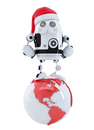 Robot santa on top of the globe. Technology concept. Isolated photo