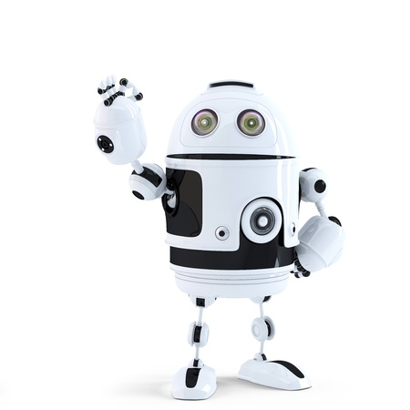 android robot: Android robot showing ok sign. Technology concept. Isolated