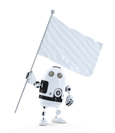 robot with white blank waving flag. Isolated on white background photo