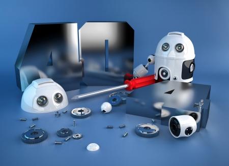 Zerlegt Roboter mit 404-Zeichen. Lizenzfreie Bilder
