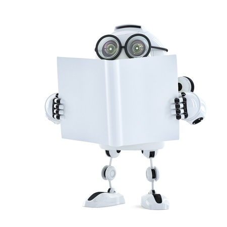 Robot reads a book. Technology concept. Isolated over white background photo