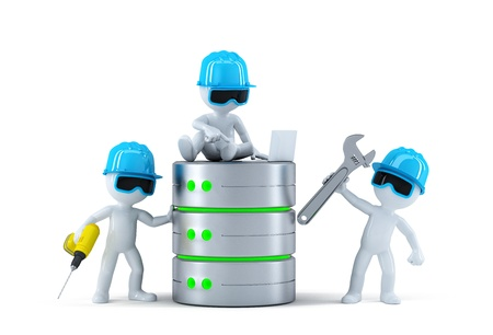 Groep technici met data base. Technologie concept. Geïsoleerd