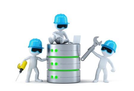 administrador de empresas: Grupo de t�cnicos con la base de datos. Concepto de la tecnolog�a. Aislado Foto de archivo