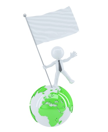 conquest: Businessman with blank flag on top of the globe. Isolated on white