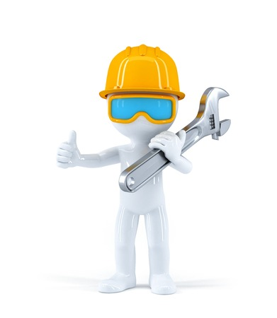 Worker with pipe wrench. Isolated over white background photo