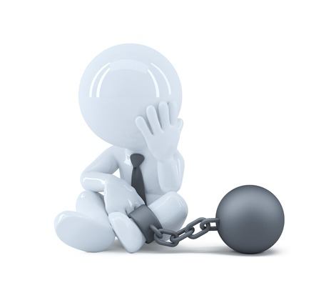 Geschäftsmann mit einer Kette in seinem Fuß. Recht und Kriminalität-Konzept. Isoliert auf weißem Hintergrund