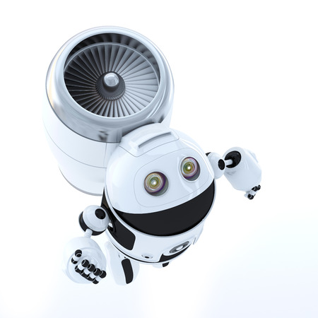 web robot: Flying hero robot. Technology concept. Isolated over white background