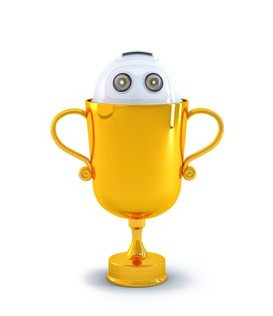 Robot inside the trophy. Technology concept. Isolated on white background. photo