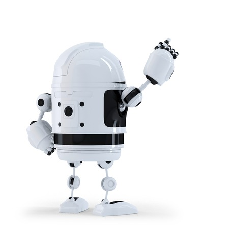 Robot pointing at invisible object. Back view. Isolated on white