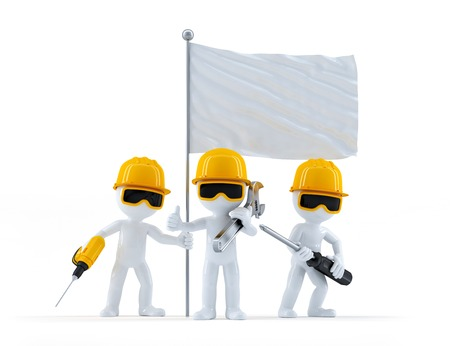 Group of construction workers with flag. Isolated on white background photo
