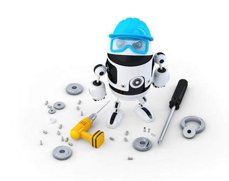 Robot construction worker with various tools. Technology concept. Isolated on white photo