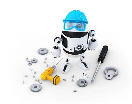 Robot trabajador de la construcci�n con diferentes herramientas. Concepto de la tecnolog�a. Aislado en blanco