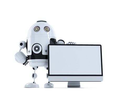 funny robot: Robot avec moniteur d'ordinateur. Concept technologique. Isol� sur fond blanc
