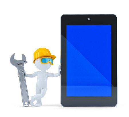 Construction worker with blank screen tablet. Isolated on white background photo