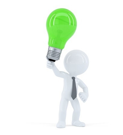 Business man with green light bulb. Concept of creative business idea. Isolated on white background Standard-Bild