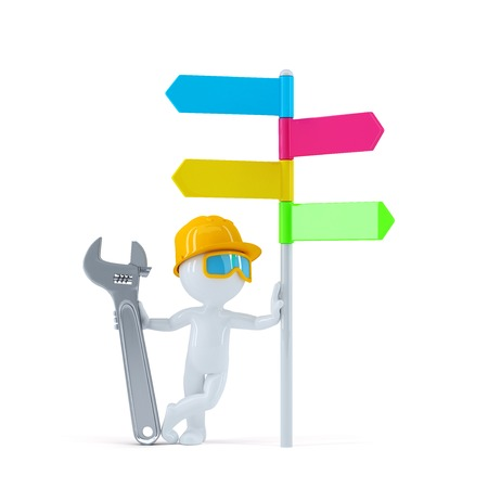 Construction worker with colorful signpost. Isolated over white background photo