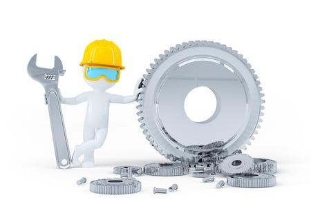 Bauarbeiter mit Schraubenschlüssel und Getriebe. Isoliert auf weißem Hintergrund