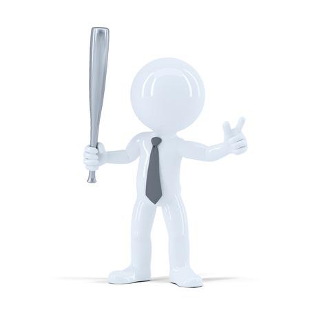 empresario enojado: Hombre de negocios enojado con bate de b�isbol. Aislado en el fondo blanco