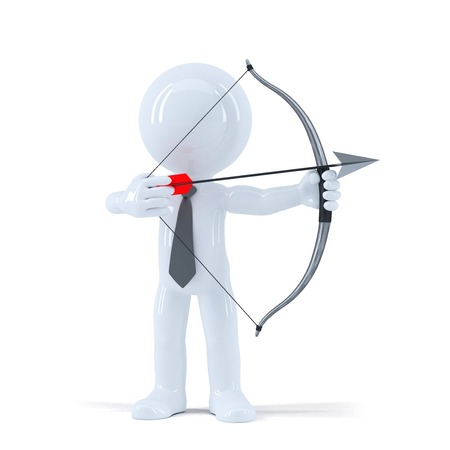 Businessman takes aim at a target with bow and arrow. Isolated on white background photo