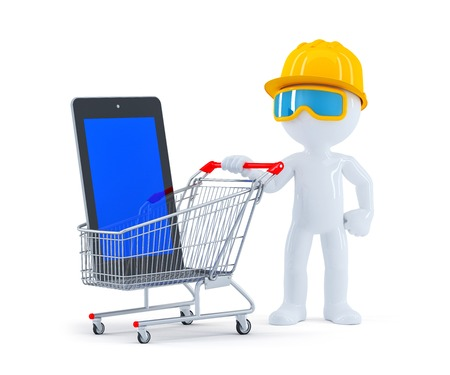 Builder with shopping cart and blank screen tablet. Isolated on white background photo