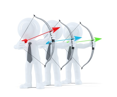 Group of businesspeople aiming at a target. Isolated over white background photo