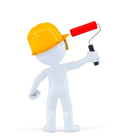 Worker with paint roll painting invisible wall. Isolated over white background