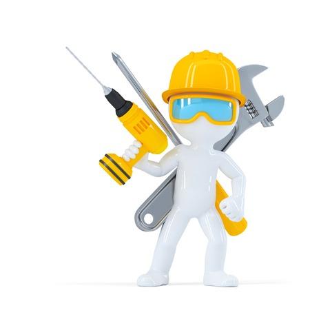 carpintero: Trabajador de la construcci�n  constructor con las herramientas. Aislado en el fondo blanco Foto de archivo