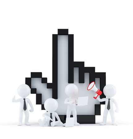 Group of business people with cursor. Isolated over white background photo