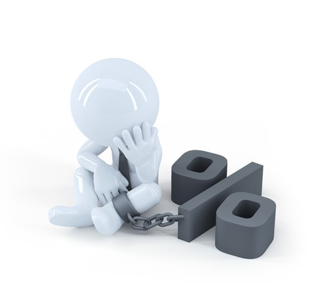shackled: Chained businessman. Debt concept. Isolated on white